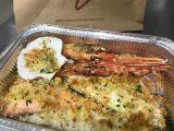 Il gratinato con gamberone, scampo, branzino, salmone, capasanta, filetto di gallinella, trancio di pescatrice*